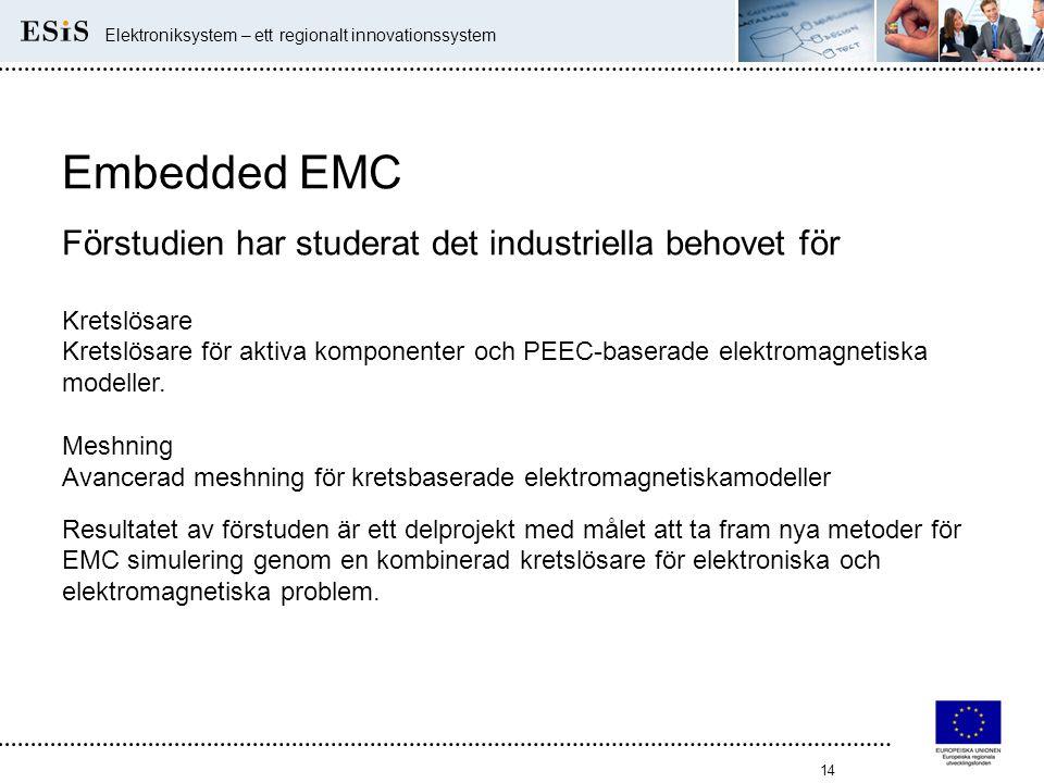 14 Elektroniksystem – ett regionalt innovationssystem Embedded EMC Förstudien har studerat det industriella behovet för Kretslösare Kretslösare för ak