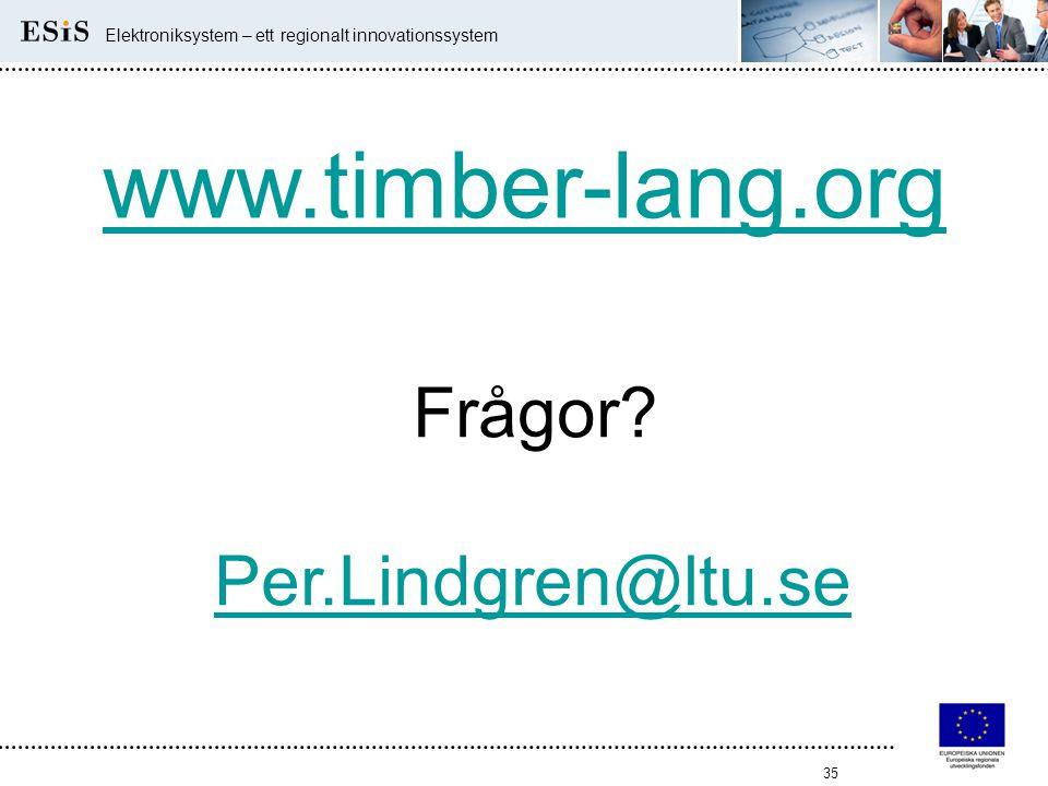 35 Elektroniksystem – ett regionalt innovationssystem www.timber-lang.org Frågor? Per.Lindgren@ltu.se
