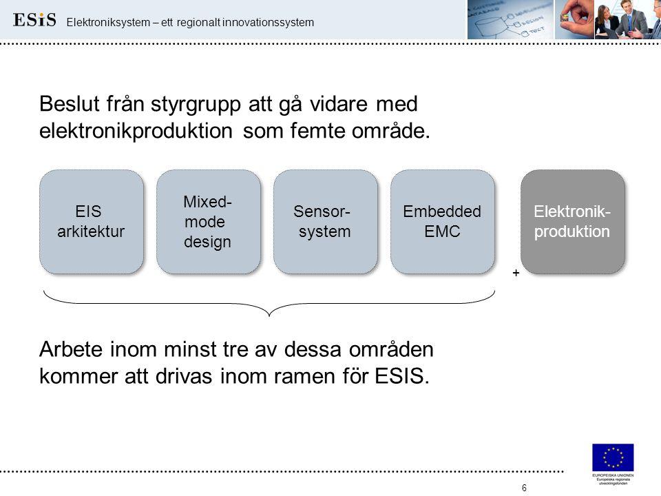 6 Elektroniksystem – ett regionalt innovationssystem EIS arkitektur Sensor- system Mixed- mode design Embedded EMC + Arbete inom minst tre av dessa om