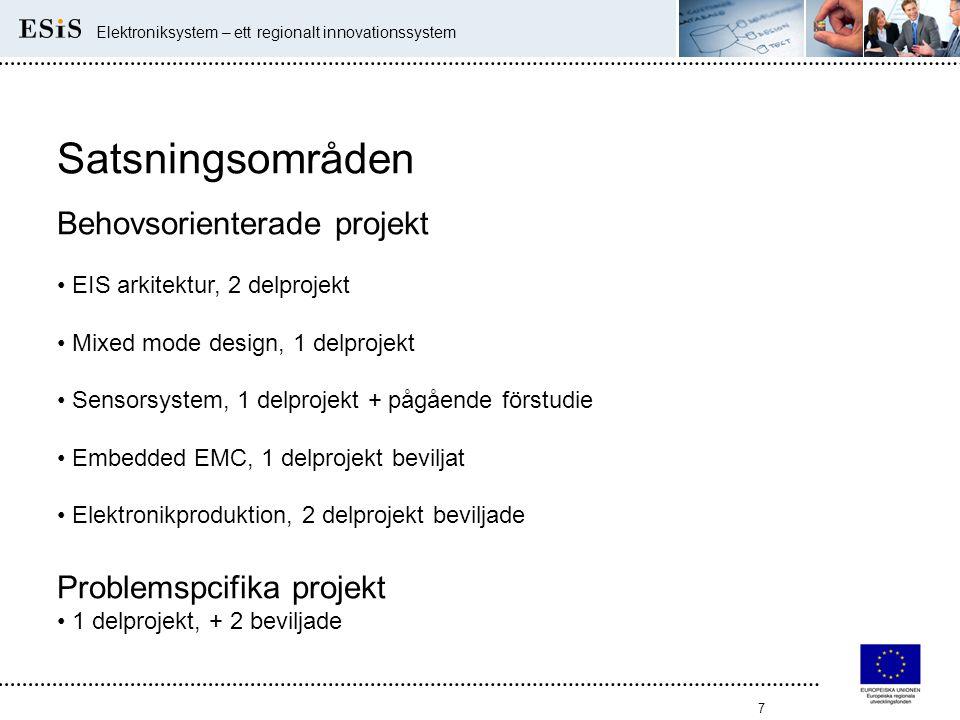 7 Elektroniksystem – ett regionalt innovationssystem Satsningsområden Behovsorienterade projekt • EIS arkitektur, 2 delprojekt • Mixed mode design, 1