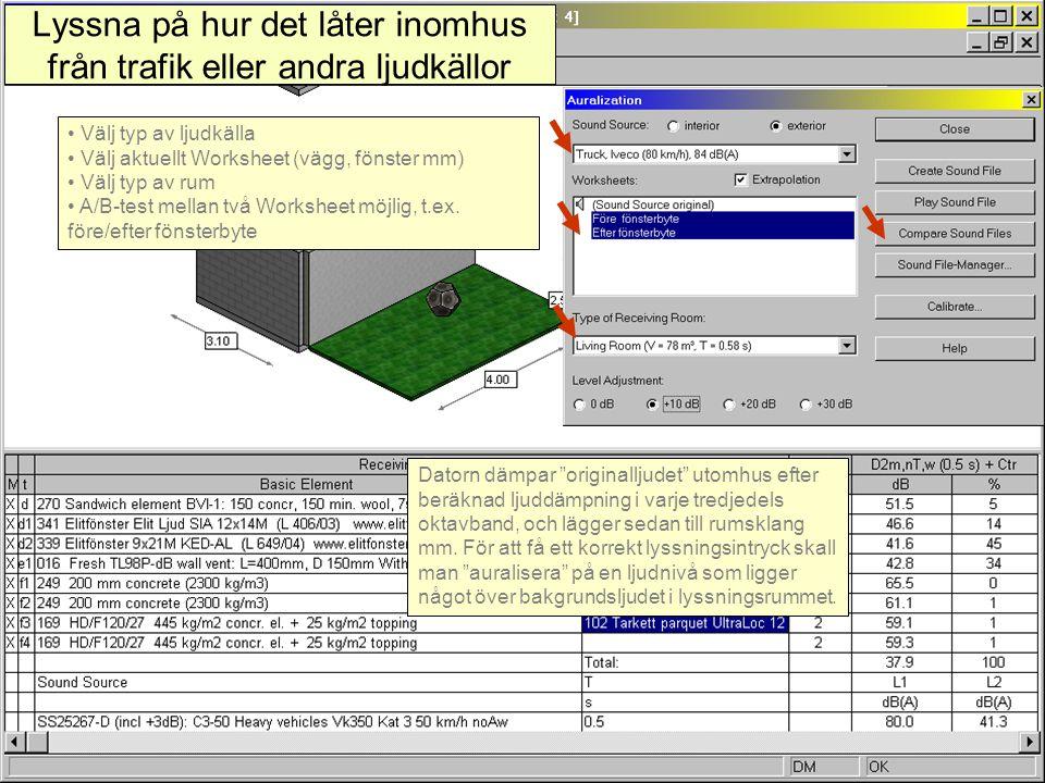 """2007-08-20(c) Simmons akustik & utveckling ab 200711 Lyssna på hur det låter inomhus från trafik eller andra ljudkällor Datorn dämpar """"originalljudet"""""""