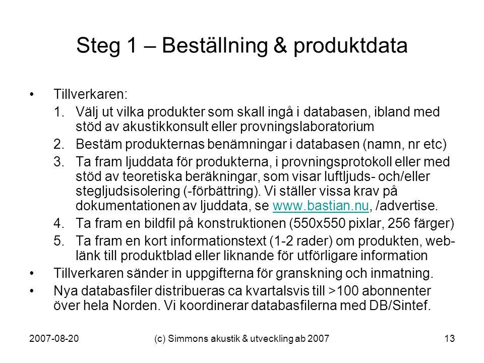 2007-08-20(c) Simmons akustik & utveckling ab 200713 Steg 1 – Beställning & produktdata •Tillverkaren: 1.Välj ut vilka produkter som skall ingå i data