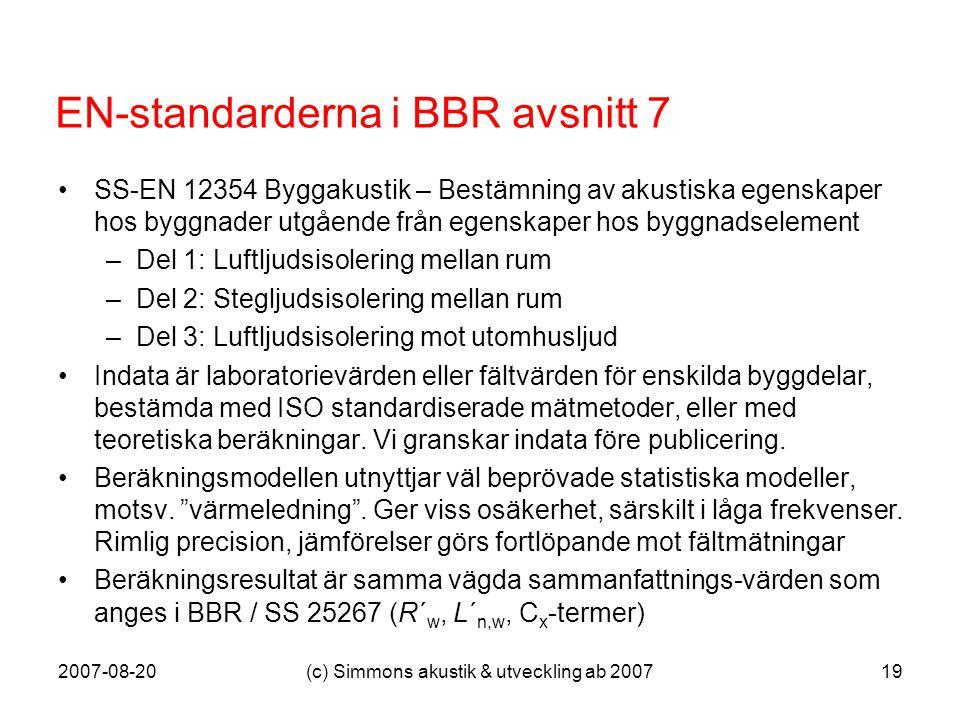 2007-08-20(c) Simmons akustik & utveckling ab 200719 EN-standarderna i BBR avsnitt 7 •SS-EN 12354 Byggakustik – Bestämning av akustiska egenskaper hos