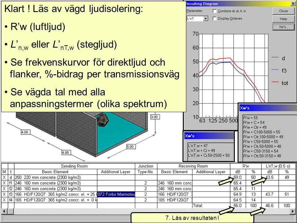2007-08-20(c) Simmons akustik & utveckling ab 20077 Klart ! Läs av vägd ljudisolering: • R'w (luftljud) • L' n,w eller L' nT,w (stegljud) • Se frekven