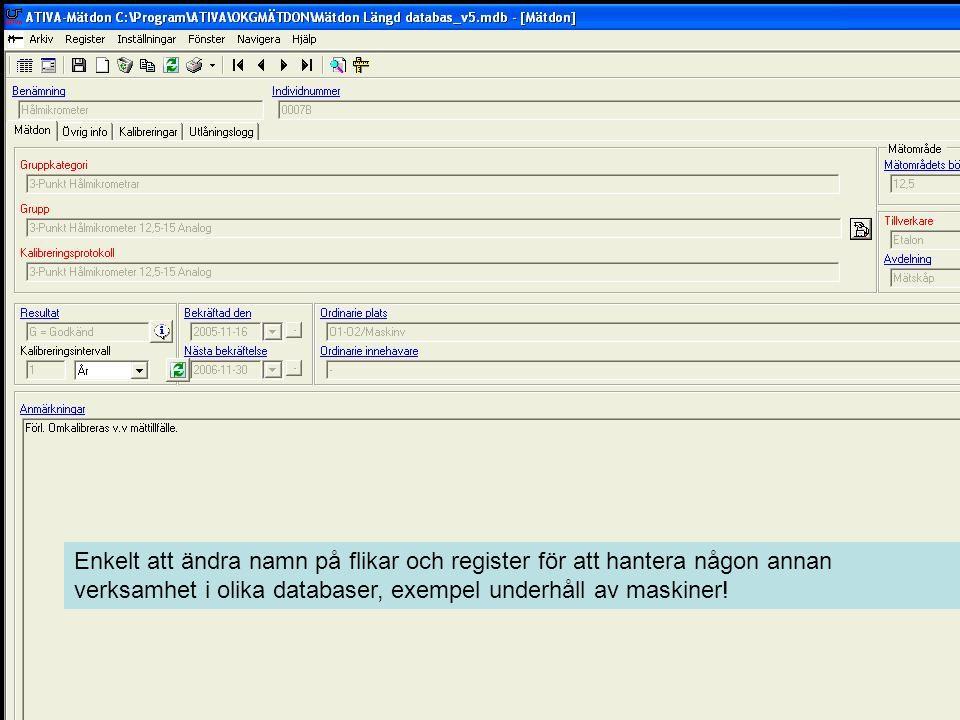 Enkelt att ändra namn på flikar och register för att hantera någon annan verksamhet i olika databaser, exempel underhåll av maskiner!