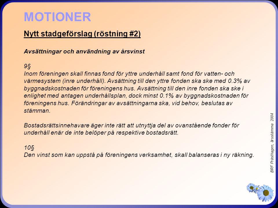 BRF Prästhagen, årsstämma 2004 Nytt stadgeförslag (röstning #2) Avsättningar och användning av årsvinst 9§ Inom föreningen skall finnas fond för yttre underhåll samt fond för vatten- och värmesystem (inre underhåll).