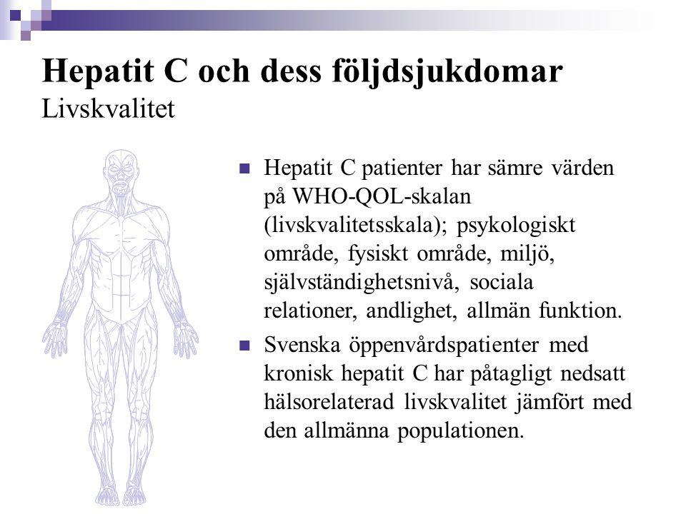 Hepatit C och dess följdsjukdomar Livskvalitet  Hepatit C patienter har sämre värden på WHO-QOL-skalan (livskvalitetsskala); psykologiskt område, fys
