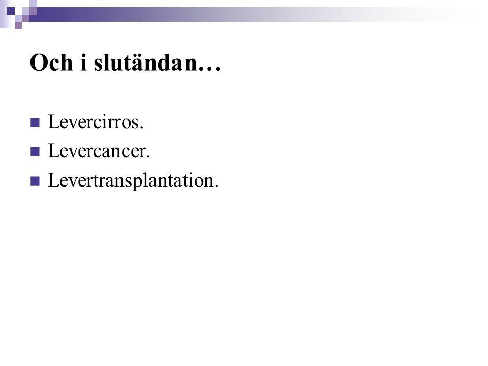 Och i slutändan…  Levercirros.  Levercancer.  Levertransplantation.