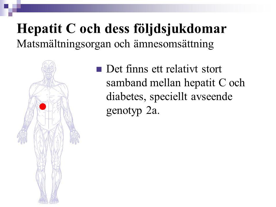 Hepatit C och dess följdsjukdomar Matsmältningsorgan och ämnesomsättning  Det finns ett relativt stort samband mellan hepatit C och diabetes, speciel