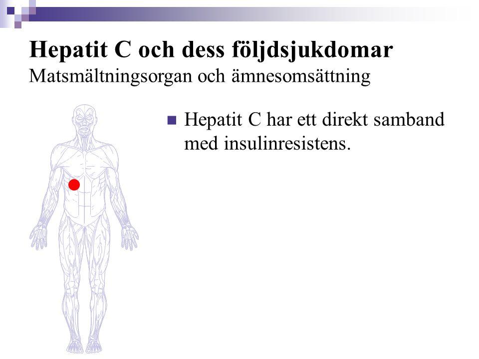 Hepatit C och dess följdsjukdomar Matsmältningsorgan och ämnesomsättning  Kronisk hepatit C är vanligt hos dialyspatienter och njurtransplanterade, och kan vara en orsak till primär njursjukdom och kärlinflammation (= vaskulit).