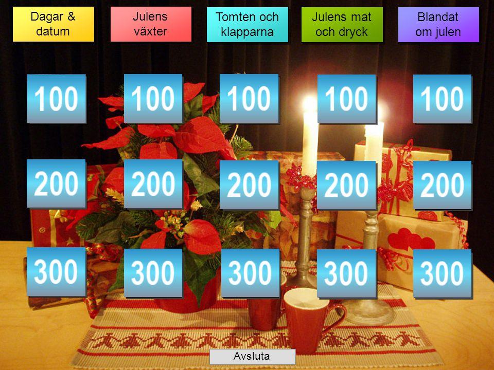 Dagar & datum Dagar & datum Julens växter Julens växter Tomten och klapparna Tomten och klapparna Julens mat och dryck Julens mat och dryck Blandat om