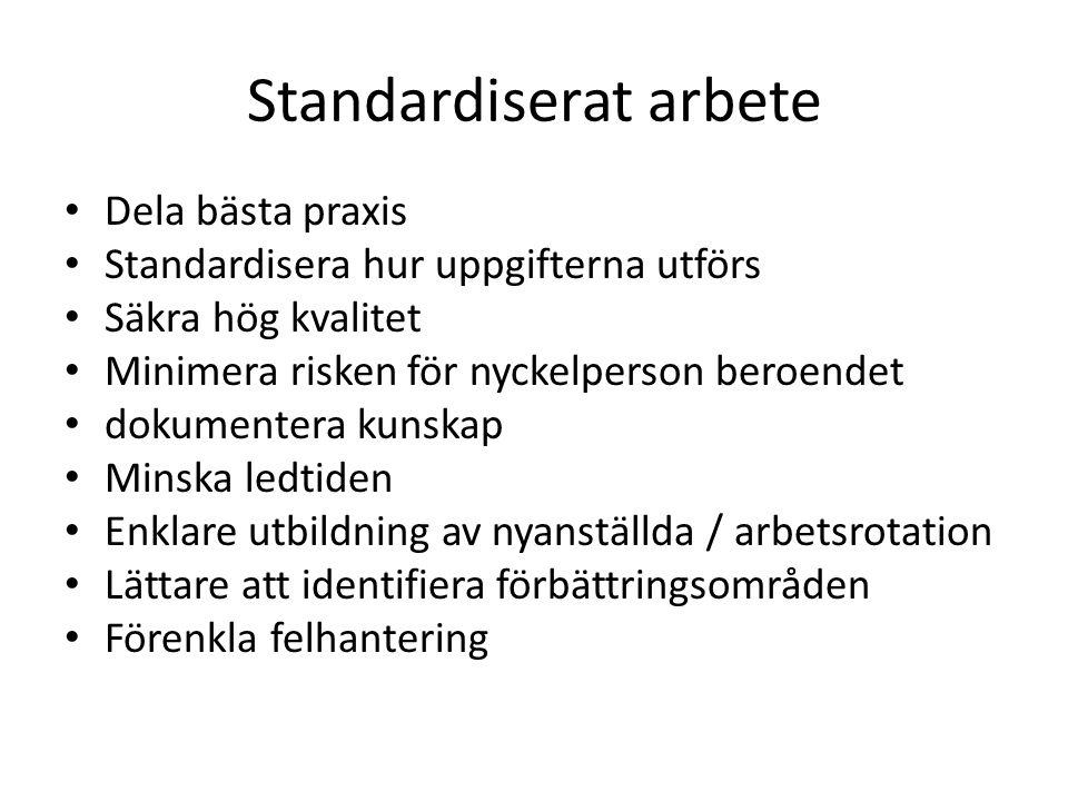 Standardiserat arbete • Dela bästa praxis • Standardisera hur uppgifterna utförs • Säkra hög kvalitet • Minimera risken för nyckelperson beroendet • d