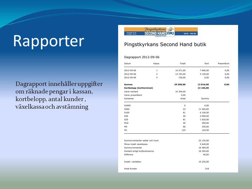 Rapporter Dagrapport innehåller uppgifter om räknade pengar i kassan, kortbelopp, antal kunder, växelkassa och avstämning
