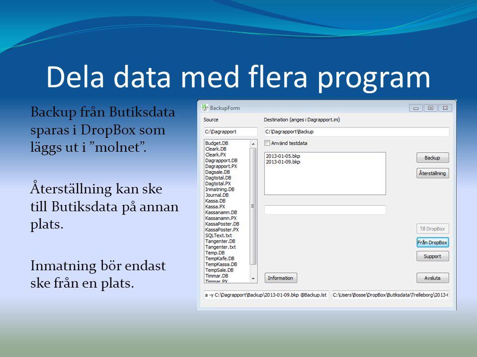 """Dela data med flera program Backup från Butiksdata sparas i DropBox som läggs ut i """"molnet"""". Återställning kan ske till Butiksdata på annan plats. Inm"""