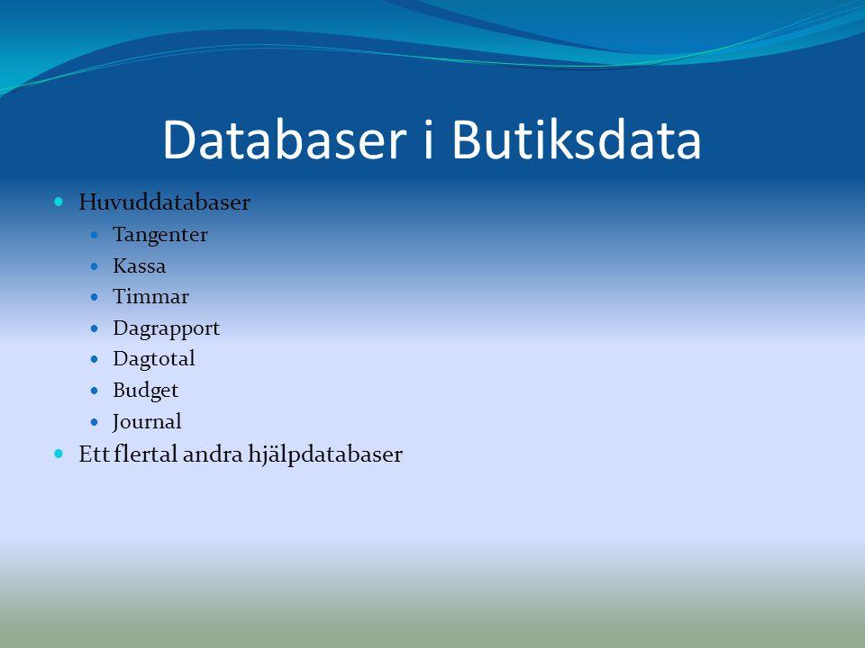 Databaser i Butiksdata  Huvuddatabaser  Tangenter  Kassa  Timmar  Dagrapport  Dagtotal  Budget  Journal  Ett flertal andra hjälpdatabaser