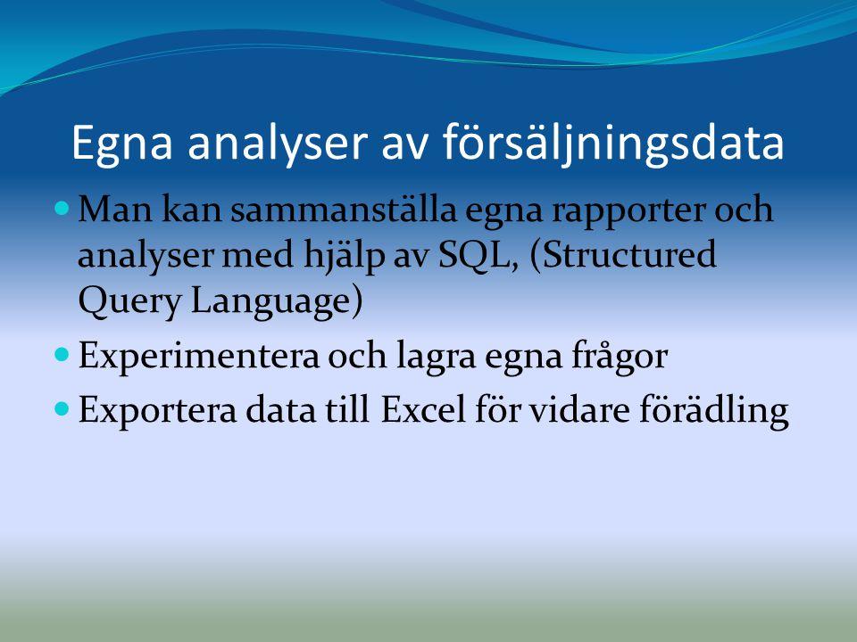 Egna analyser av försäljningsdata  Man kan sammanställa egna rapporter och analyser med hjälp av SQL, (Structured Query Language)  Experimentera och