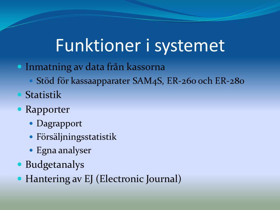 Funktioner i systemet  Inmatning av data från kassorna  Stöd för kassaapparater SAM4S, ER-260 och ER-280  Statistik  Rapporter  Dagrapport  Förs