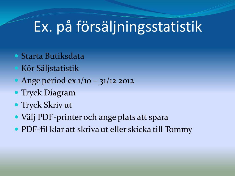 Ex. på försäljningsstatistik  Starta Butiksdata  Kör Säljstatistik  Ange period ex 1/10 – 31/12 2012  Tryck Diagram  Tryck Skriv ut  Välj PDF-pr
