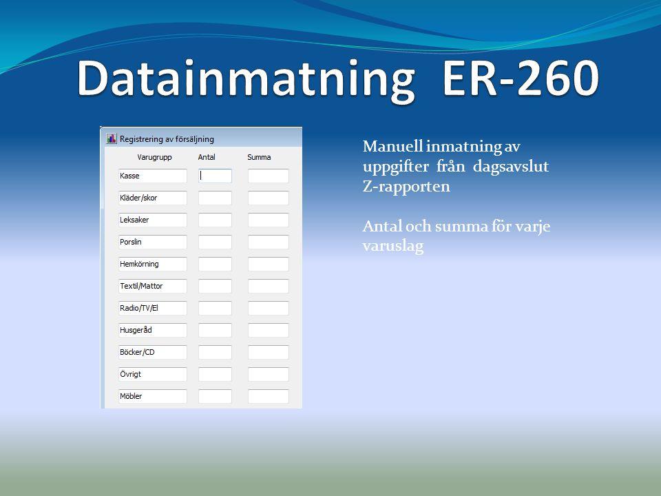 Manuell inmatning av uppgifter från dagsavslut Z-rapporten Antal och summa för varje varuslag