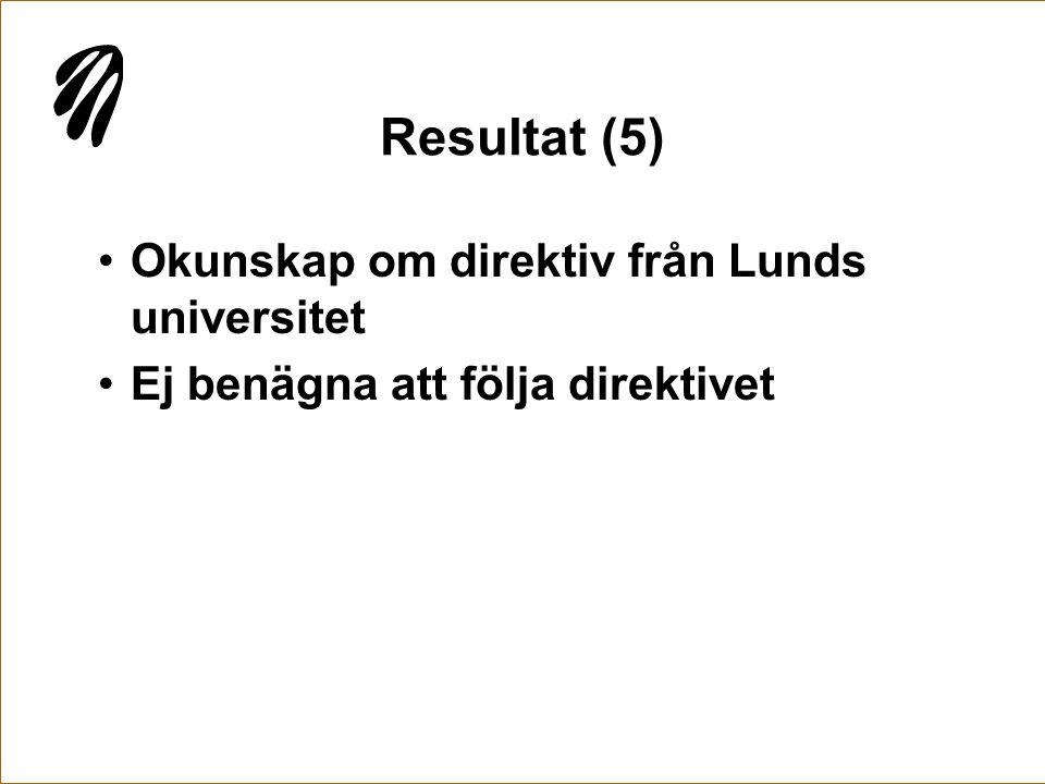 Resultat (5) •Okunskap om direktiv från Lunds universitet •Ej benägna att följa direktivet