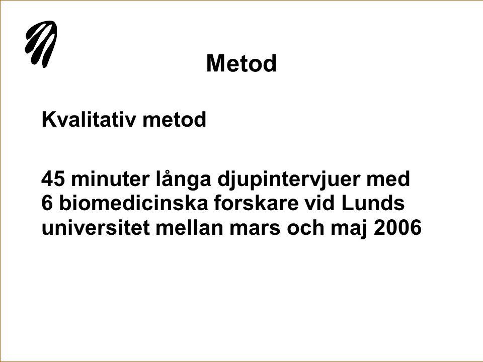 Metod Kvalitativ metod 45 minuter långa djupintervjuer med 6 biomedicinska forskare vid Lunds universitet mellan mars och maj 2006