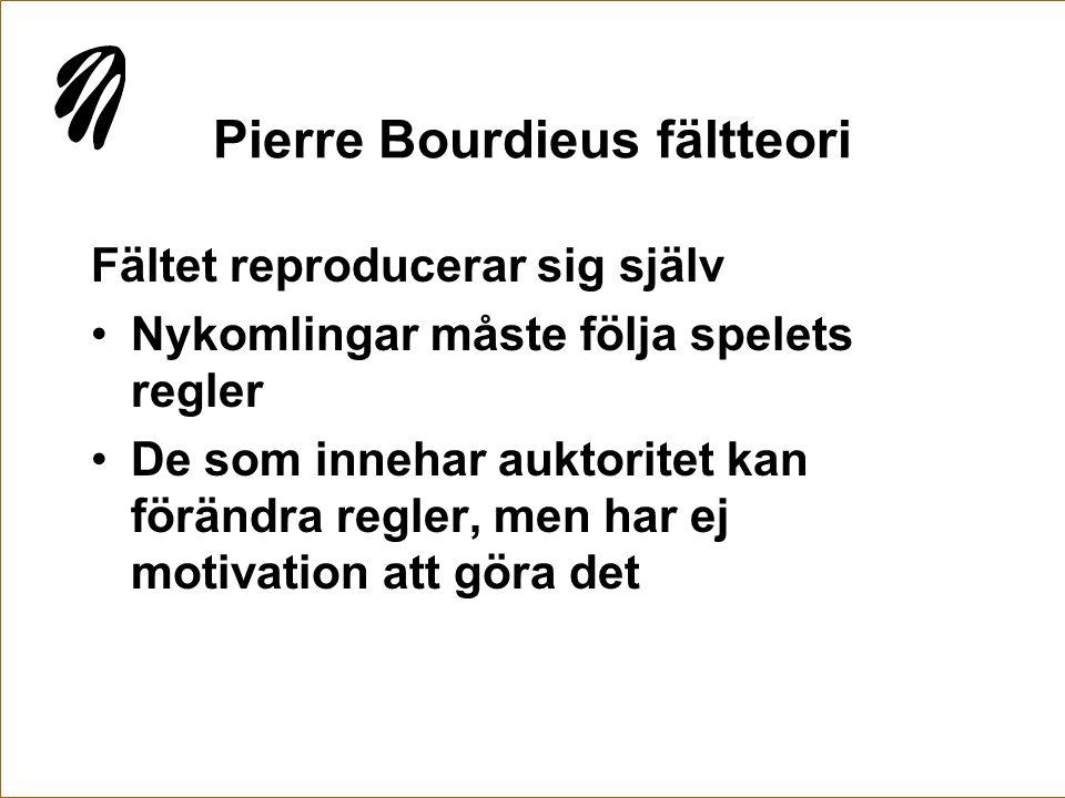 Pierre Bourdieus fältteori Fältet reproducerar sig själv •Nykomlingar måste följa spelets regler •De som innehar auktoritet kan förändra regler, men h