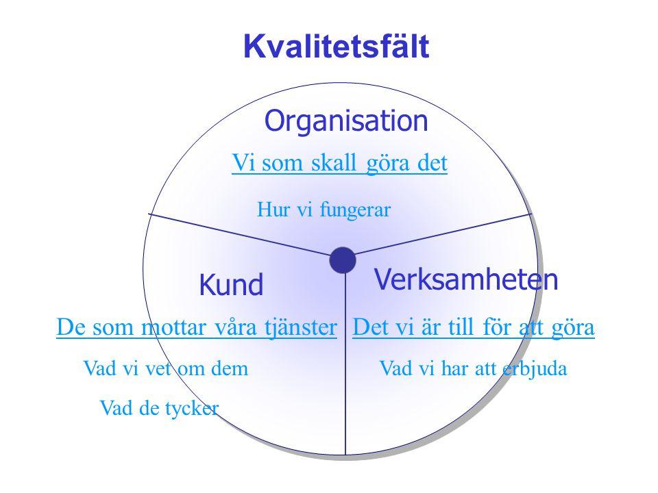 Kvalitetsfält Organisation Vi som skall göra det Hur vi fungerar Verksamheten Det vi är till för att göra Vad vi har att erbjuda Kund De som mottar vå