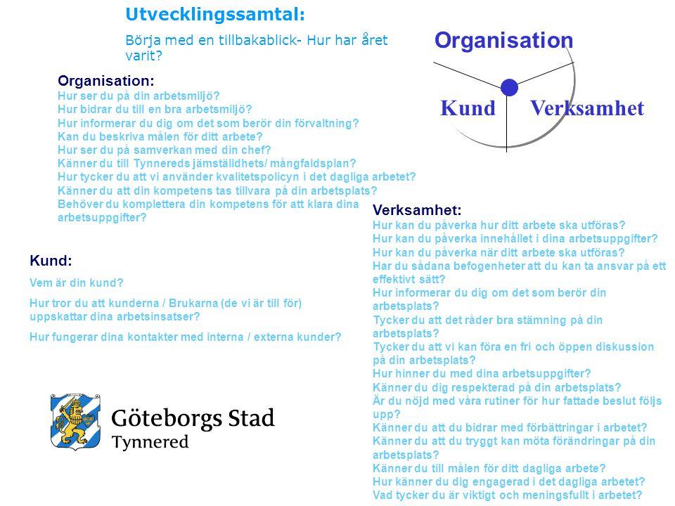 Organisation VerksamhetKund Organisation: Hur ser du på din arbetsmiljö? Hur bidrar du till en bra arbetsmiljö? Hur informerar du dig om det som berör