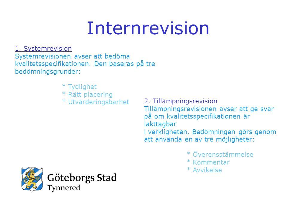Internrevision 1. Systemrevision Systemrevisionen avser att bedöma kvalitetsspecifikationen. Den baseras på tre bedömningsgrunder: * Tydlighet * Rätt