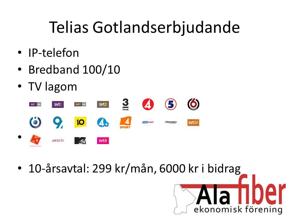 Telias Gotlandserbjudande • IP-telefon • Bredband 100/10 • TV lagom • 10-årsavtal: 299 kr/mån, 6000 kr i bidrag