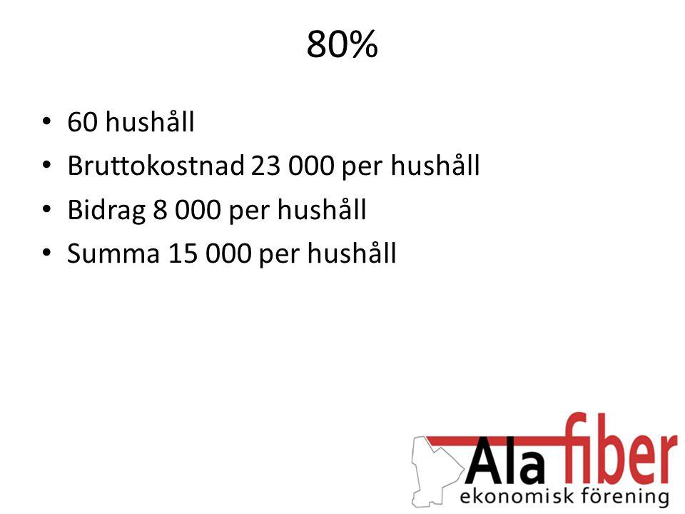 80% • 60 hushåll • Bruttokostnad 23 000 per hushåll • Bidrag 8 000 per hushåll • Summa 15 000 per hushåll