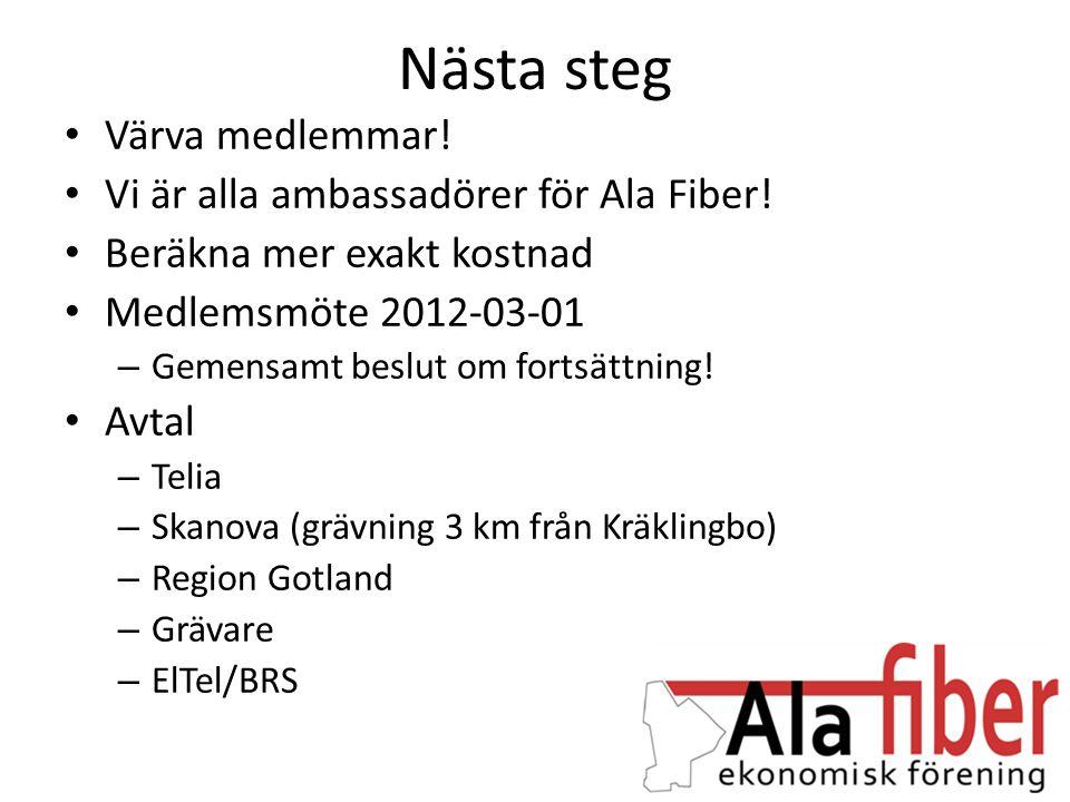Nästa steg • Värva medlemmar! • Vi är alla ambassadörer för Ala Fiber! • Beräkna mer exakt kostnad • Medlemsmöte 2012-03-01 – Gemensamt beslut om fort