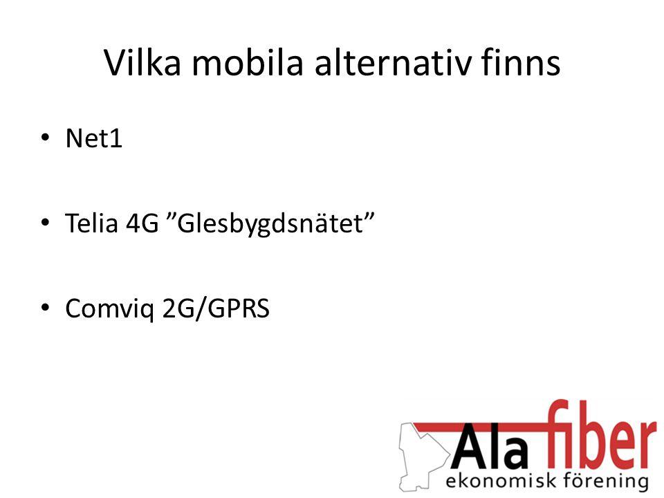 "Vilka mobila alternativ finns • Net1 • Telia 4G ""Glesbygdsnätet"" • Comviq 2G/GPRS"