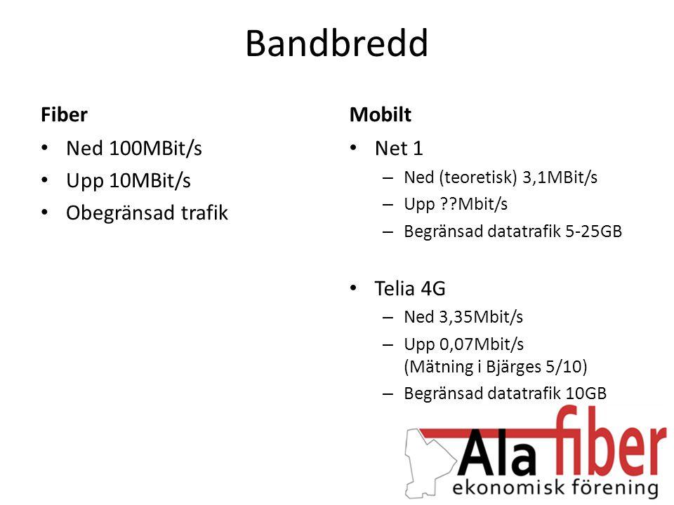 Pålitlighet Fiber • Garanterat 100MBit/s • Nedgrävd fiber har liten risk för skador Mobilt • Varierande bandbredd • Påverkas av antalet samtidiga användare • Väderberoende • Olika mottagning beroende på var i bostaden man befinner sig