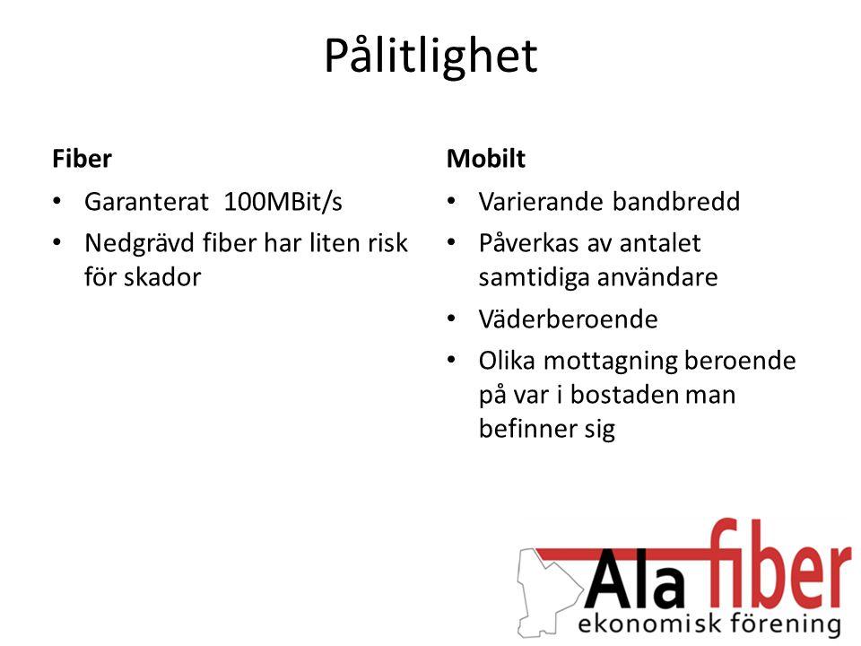 Pålitlighet Fiber • Garanterat 100MBit/s • Nedgrävd fiber har liten risk för skador Mobilt • Varierande bandbredd • Påverkas av antalet samtidiga anvä
