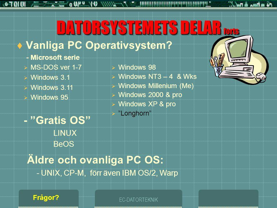EC-DATORTEKNIK DATORSYSTEMETS DELAR forts  Vad är Operativsystem? (OS) - Utför datorns operationer(arbete) - Utan ett OPERATIVSYSTEM kan datorn inte