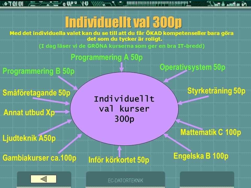 EC-DATORTEKNIK Individuellt val 300p Programmering A 50p Individuellt val kurser 300p Operativsystem 50p Styrketräning 50p Engelska B 100p Gambiakurser ca.100p Småföretagande 50p Ljudteknik A50p Inför körkortet 50p Programmering B 50p Mattematik C 100p Med det individuella valet kan du se till att du får ÖKAD kompetenseller bara göra det som du tycker är roligt.