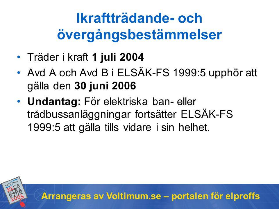 Arrangeras av Voltimum.se – portalen för elproffs Ikraftträdande- och övergångsbestämmelser •Träder i kraft 1 juli 2004 •Avd A och Avd B i ELSÄK-FS 19