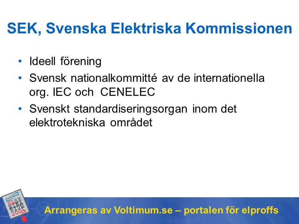 Arrangeras av Voltimum.se – portalen för elproffs SEK, Svenska Elektriska Kommissionen •Ideell förening •Svensk nationalkommitté av de internationella