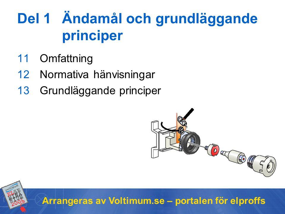 Arrangeras av Voltimum.se – portalen för elproffs Del 1Ändamål och grundläggande principer 11Omfattning 12Normativa hänvisningar 13Grundläggande principer