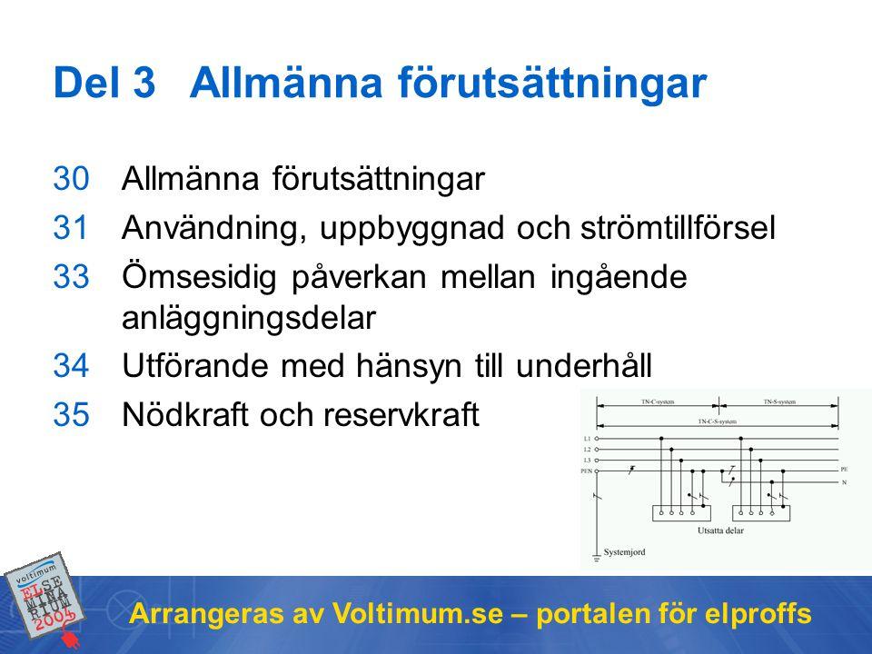 Arrangeras av Voltimum.se – portalen för elproffs Del 3Allmänna förutsättningar 30Allmänna förutsättningar 31Användning, uppbyggnad och strömtillförse