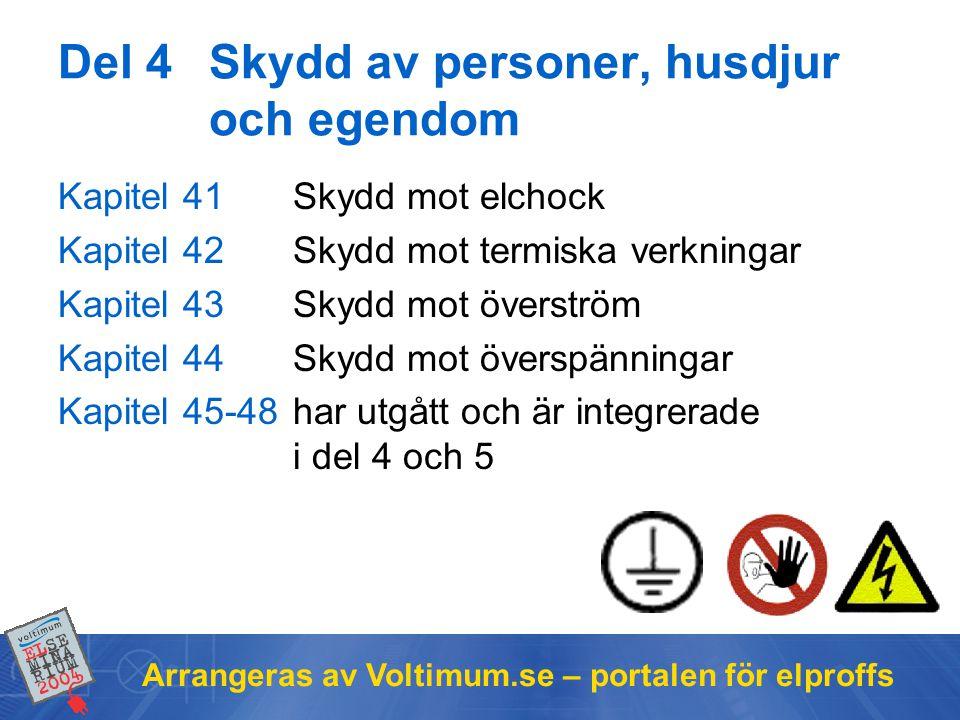 Arrangeras av Voltimum.se – portalen för elproffs Del 4Skydd av personer, husdjur och egendom Kapitel 41Skydd mot elchock Kapitel 42Skydd mot termiska