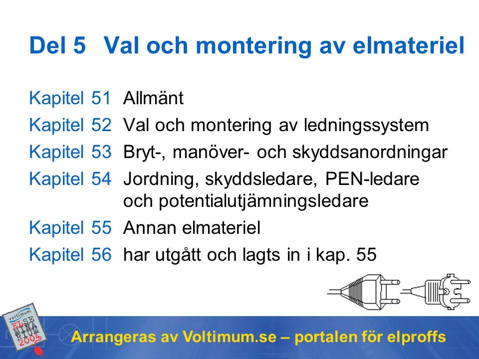 Arrangeras av Voltimum.se – portalen för elproffs Del 5Val och montering av elmateriel Kapitel 51Allmänt Kapitel 52Val och montering av ledningssystem