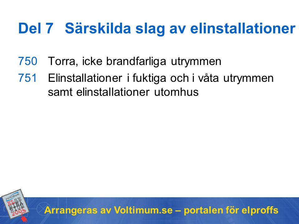 Arrangeras av Voltimum.se – portalen för elproffs 750Torra, icke brandfarliga utrymmen 751Elinstallationer i fuktiga och i våta utrymmen samt elinstallationer utomhus Del 7Särskilda slag av elinstallationer