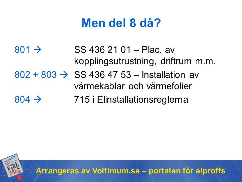 Arrangeras av Voltimum.se – portalen för elproffs Men del 8 då? 801  SS 436 21 01 – Plac. av kopplingsutrustning, driftrum m.m. 802 + 803  SS 436 47