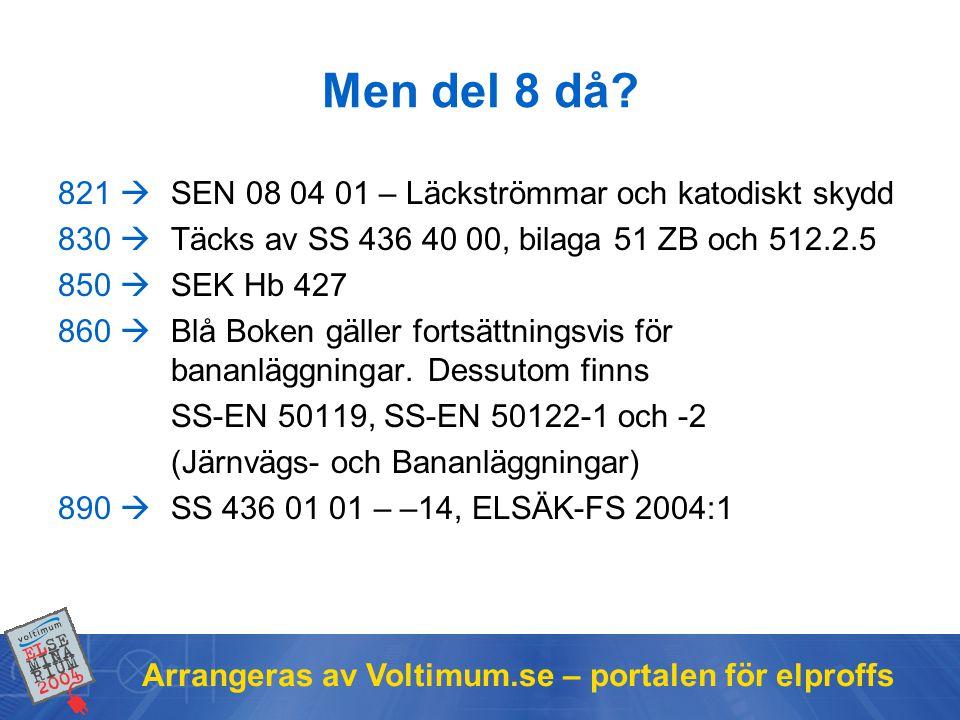 Arrangeras av Voltimum.se – portalen för elproffs 821  SEN 08 04 01 – Läckströmmar och katodiskt skydd 830  Täcks av SS 436 40 00, bilaga 51 ZB och 512.2.5 850  SEK Hb 427 860  Blå Boken gäller fortsättningsvis för bananläggningar.