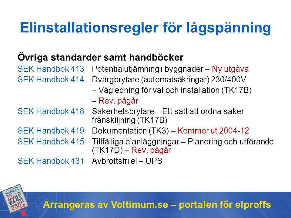 Arrangeras av Voltimum.se – portalen för elproffs Övriga standarder samt handböcker SEK Handbok 413Potentialutjämning i byggnader – Ny utgåva SEK Handbok 414Dvärgbrytare (automatsäkringar) 230/400V – Vägledning för val och installation (TK17B) – Rev.