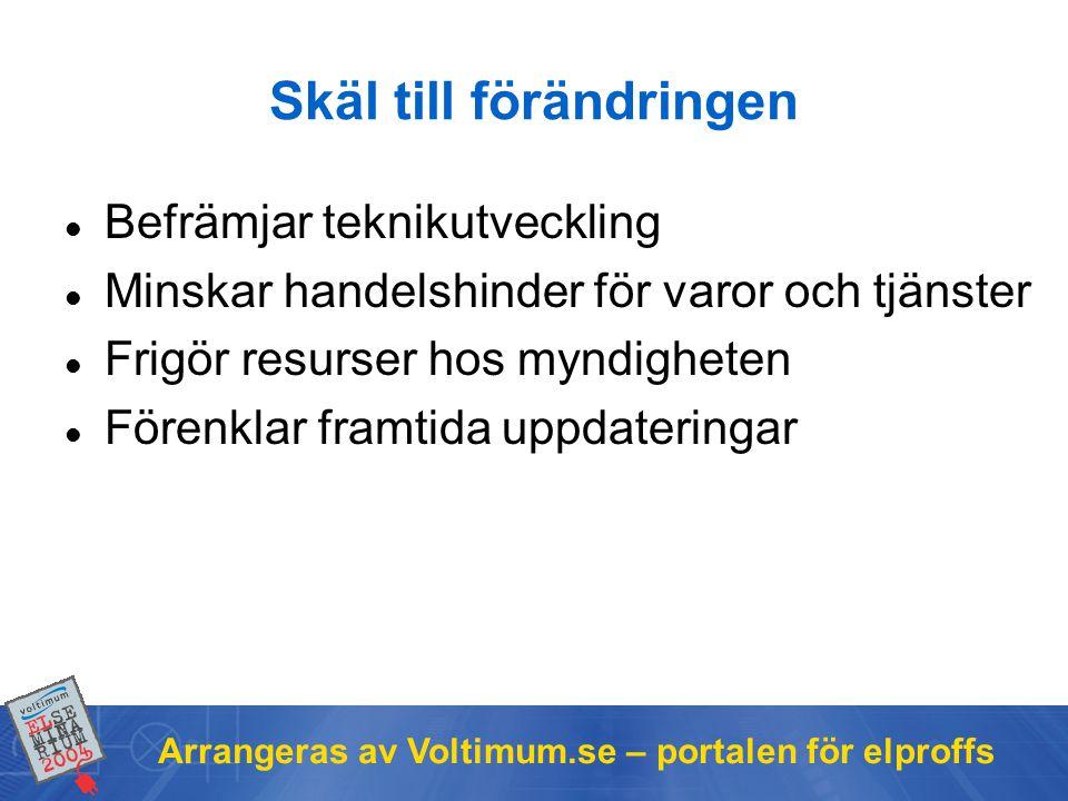 Arrangeras av Voltimum.se – portalen för elproffs Samspelet föreskrifter – standard i det nya regelverket