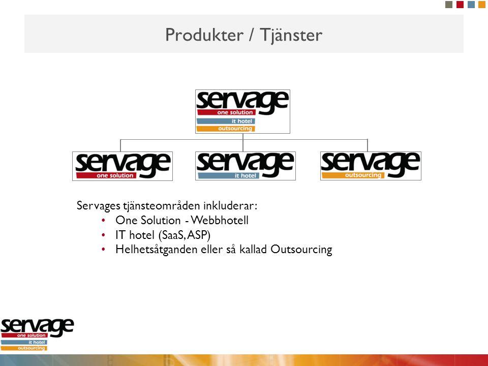 Produkter / Tjänster Servages tjänsteområden inkluderar: •One Solution - Webbhotell •IT hotel (SaaS, ASP) •Helhetsåtganden eller så kallad Outsourcing