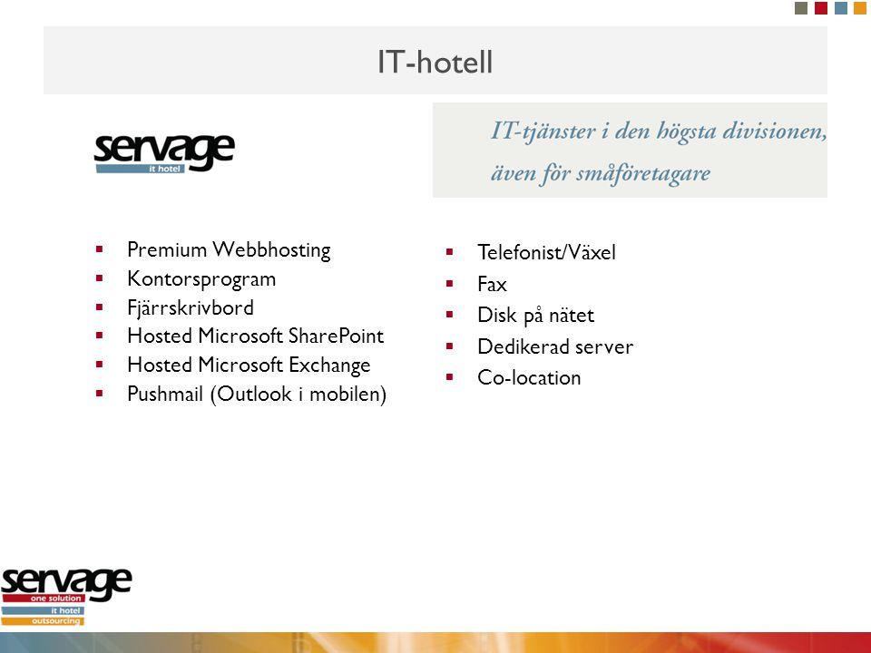 IT-hotell  Premium Webbhosting  Kontorsprogram  Fjärrskrivbord  Hosted Microsoft SharePoint  Hosted Microsoft Exchange  Pushmail (Outlook i mobi